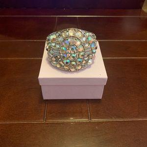 Rainbow Stone Hinged Cuff Bracelet